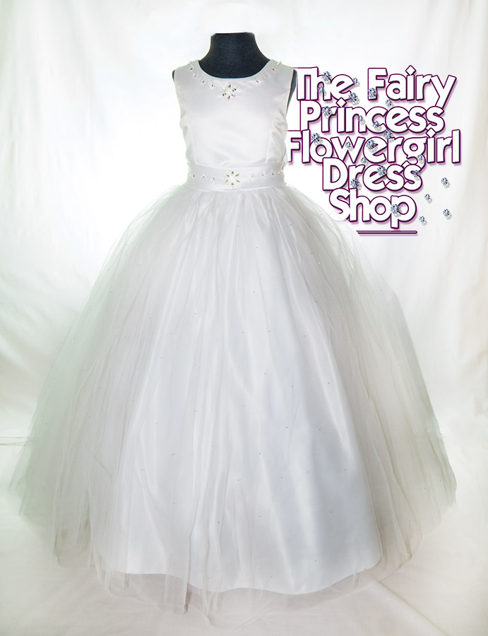 Flowergirl dress 'The Orchid' - Tulle overskirt with Swarovski crystal